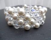Pearl and Crystal Beaded Memory Wire Bracelet, Bridal Jewelry, Ivory Wedding, Wrap Bracelet, Cuff Bracelet, Chunky Bracelet, Bridesmaid