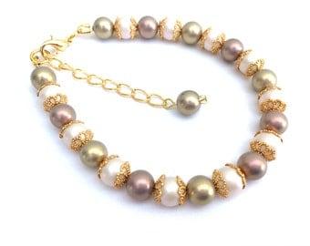 Pearl Beaded Bracelet, Bridesmaid Bracelet, Single Strand Bracelet, Gift For Her, Pastel Colours, Wedding Jewelry, Gift For Bridesmaids