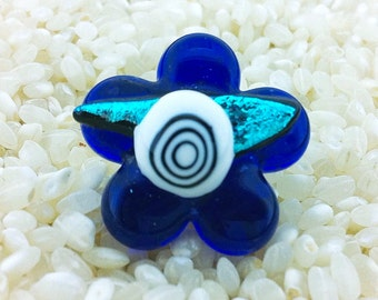Fused Glass Flower Ring  - Adjustable Size - Choice of Gold or Silver Fittings -  Cobalt Blue Art Glass with Dichroic Detail
