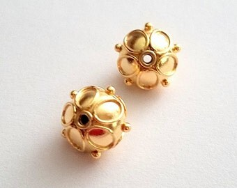 Bali Vermeil Beads with Wire and Granules 11mm 2 pieces