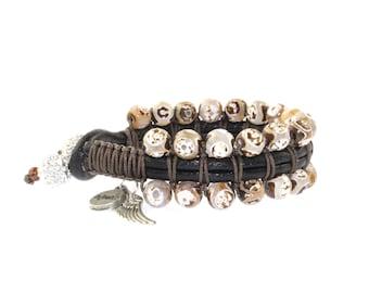Brown Agate Leather Bracelet, Leather Wrap Bracelet, Beaded Bracelet, Charm Bracelet