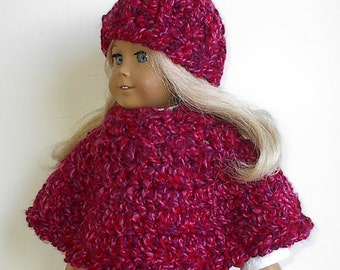 18 Inch Doll Clothes Crocheted Bulky Poncho and Hat Set in Ruby and Cherry Red Handmade to fit the American Girl and other 18 Inch Dolls