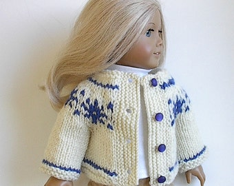 18 Inch Doll Knit Fair Isle Sweater Winter White with Royal Blue Snowflakes at Yoke Handmade by Lavenderlore to fit the American Girl Doll