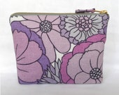 1960's/70's Vintage M+S Floral Fabric Make Up Bag, Zip Purse, in Lilac & Purple