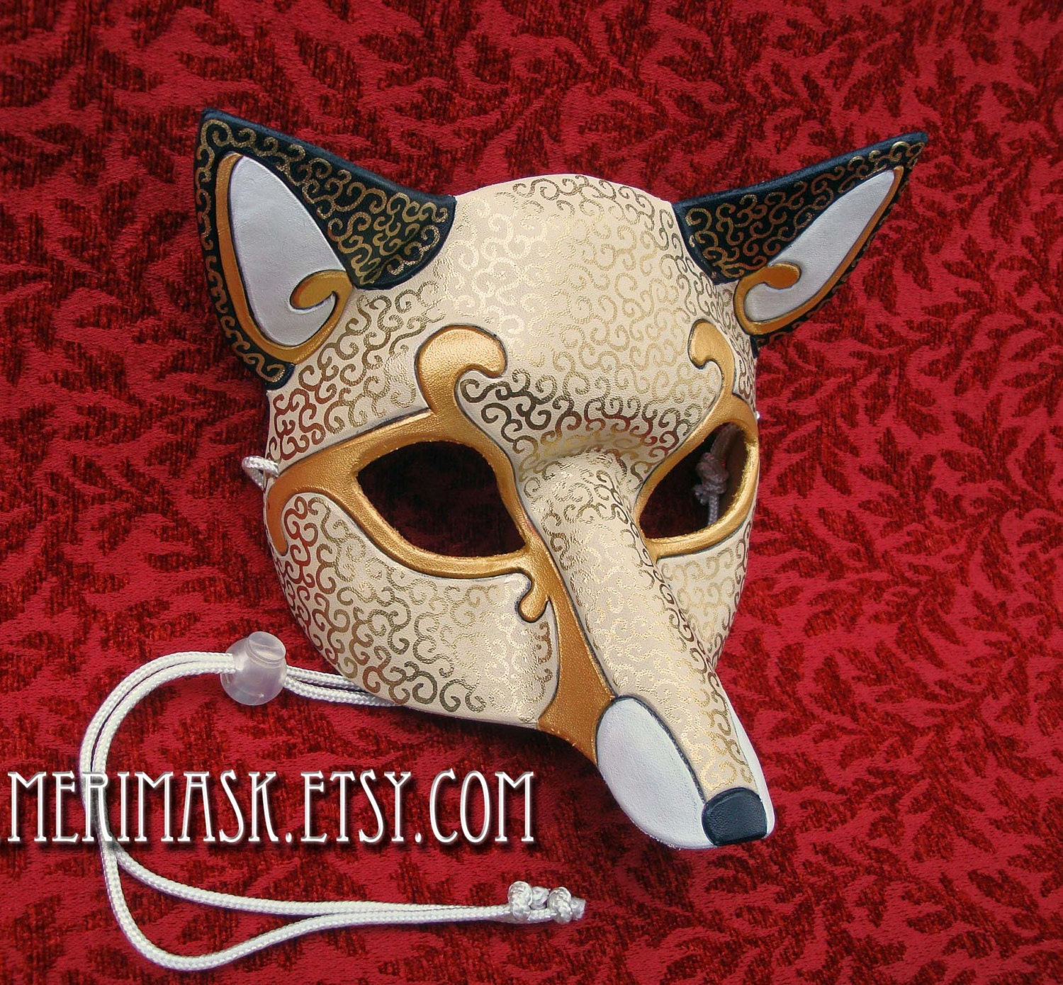 MADE TO ORDER Leather Venetian Fox Mask... masquerade costume