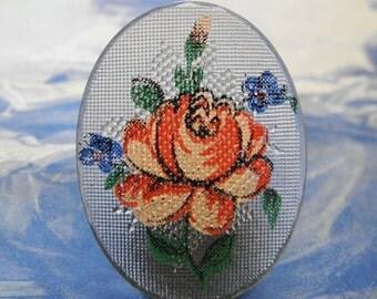 Vintage Glass Cabochon Rose Textured Front Flat Back