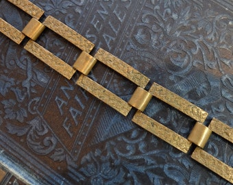 Vintage Metal Linked Bracelets Brass