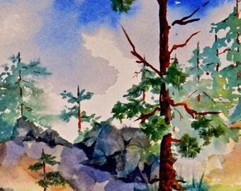 Rocky Mountain Landscape of Pine Trees, Woodland Decor, Mountain Stream, Original Watercolor Painting, Fisherman Gift, Cabin Art, Nature Art