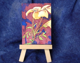 Tiny Art Watercolor Flowers, ACEO Original Painting Imaginary Forest Flowers, Office Gift, Optional Easel