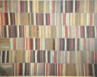 Multicolor LARGE Neutral Stripe Patchwork Rug Wool Kilim Handwoven Turkish 10'x13'