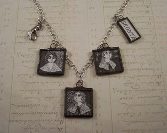 Bronte Sisters Necklace w/ Edward Gorey Book Illustrations - Emily Anne Charlotte Bronte Necklace - Literary Jewelry - Book Charm Necklace