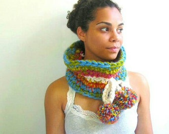 Chunky Crochet Cowl in Multicolor Stripes with PomPoms. Blue, Green, Orange, Yellow, Pink, and Cream.