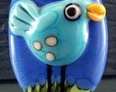 SUMMER BIRD....Laurie Geller Handmade Focal Pendant Glass Lampwork Bead...SRA