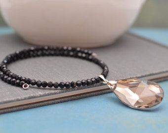 Choker Necklace with Smoke Colored Crystal Pendant