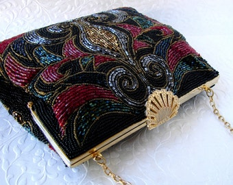 GORGEOUS Multi Colored Beaded Purse Glass Bead Handbag Formal Black Red Gold Bronze Carnival Blue Green Evening Bag Hand Made La Regale LTD.