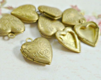 Four Raw Brass Heart Lockets Etched American Made Metal  (15-17B-6)