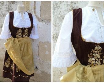 Vintage 1970/70s Tyrol Austria October fest dirndl dress embroidered + white cotton mini blouse /size S