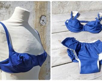 Vintage 1950/1960 bikini  blue cotton swimsuit pin up  swimwear size XS