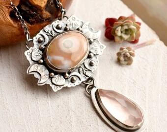 Ocean Jasper Necklace, Rose Quartz Necklace, Hand Stamped Metalwork, Crescent Moon Detail, Nature Inspired Silver- Enchanted Forest