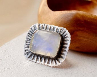 Rainbow Moonstone Ring, Textured Silver Ring, Stone Ring, Boho Ring, Bohemian Style Ring, Hand Stamped Silver Ring