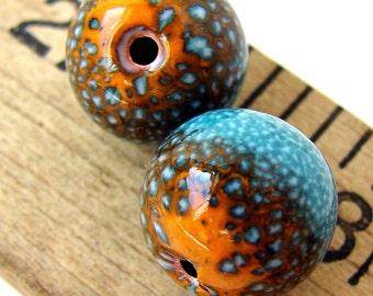 Rustic Blue and Orange Enamel Round Copper Beads