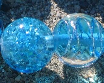 """Lampwork Glass  Beads, """"Aqua Blue"""", 11mm round focal filler functional art"""