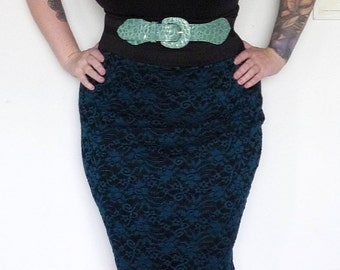 Black and Teal - Lace - High Waist - Wiggle - Pencil Skirt - Pin up - Rockabilly - Plus Size Fashion XL XXL