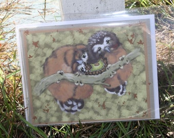 All occaision notecard, owls with a caterpillar