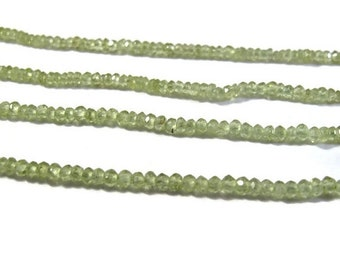 HOT SALE - Tiny Beauties, Green Peridot Rondelle Beads, 2.2-2.8mm, 8.5 Inch Strand of Over 95 Gemstones for Making Jewelry (R-Pe1)