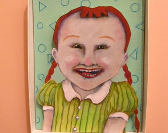 Be Happy redhead girl , Shadowbox art, Diorama , sandy mastroni,Small art, Wall art collection,