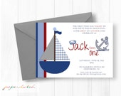 Sailboat First Birthday Invitation -  Nautical Theme - First Birthday - Sailor Hat Anchor Invitation -  Navy Red - Digital File or Printed