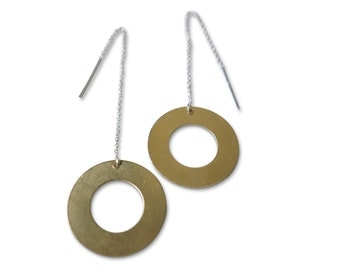 Big Circle Ear Threads in Sterling Silver and Brass