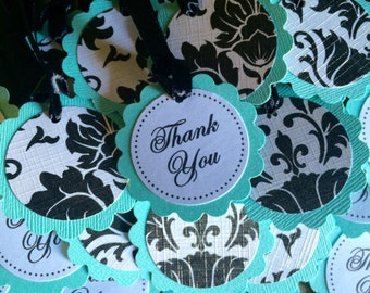 25 Aqua or Pool Blue and Black and White Damask Scalloped Circle Thank You Favor Tags - Perfect for Wedding or Bridal Shower - READY TO SHIP