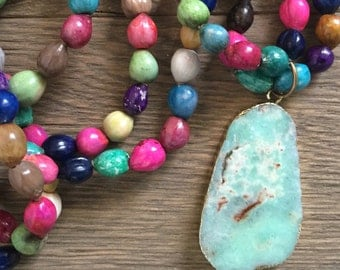 Vintage repurposed one of a kind multi colored wood bead necklace and Australian jade pendant