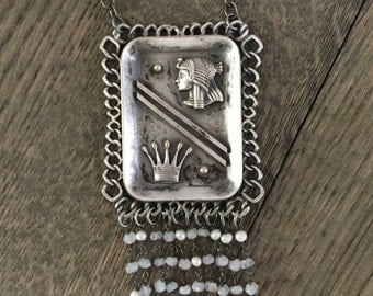 Vintage repurposed one of a kind moonstone royal art deco flapper necklace