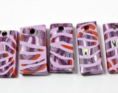 Set of Handmade Mosaic Polymer Clay Pendants in Rectangular Shapes