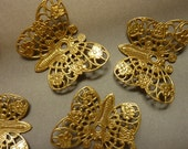 4 Filigree Brass Butterfly Stamping - Insect
