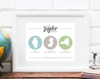 Long Distance Family, Three State Map Gift for Mom, Travel History Map, Family Far Away Across the US - Art Print