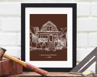 Father's Day Gift for Dad, Grandfather, Gift for Stepfather, Grandpa Gift, Stepdad Gift, Home Illustration, House Drawing - 8x10 Art Print