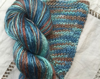 Hand Dyed worsted weight Silk Yarn - Blue Lagoon (5)