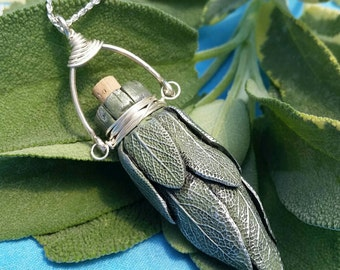 Sage Smudge Stick Bottle Necklace with Silver Bail
