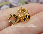 3pcs Silver or Gold Plated Rhinestone Settings, 8mm Square, Articles 4400 4410 Empty Settings, Nickel Free Prong Setting, Jewelry Finding