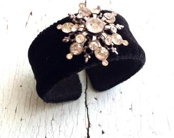 Black Velvet and Rhinestone Adjustable Cuff