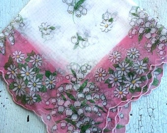 Scalloped Flocked Lily of the Valley Nylon Vintage Hankie