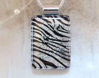 Zebra Necklace, Silver, Black, Dichroic Pendant, Glass Jewelry, Necklace Included, A2