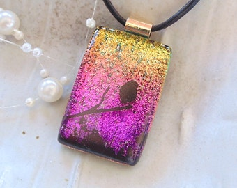 Pink Necklace, Gold, Dichroic Pendant, Fused Glass Jewelry, Enamel, Black, Necklace Included, A7