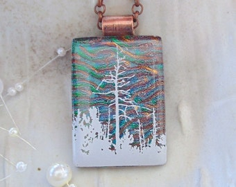 Fused Dichroic Glass Pendant - Tree Image - Dichroic Glass Jewelry - Green - Copper - Necklace Included, A8
