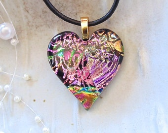 Heart Pendant, Dichroic Jewelry, Heart, Necklace, Pink, Gold, Necklace Included, One of a Kind, A8, AF