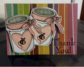Handmade Card Thank you Jelly and Mason Jar Jam Card by JLMould - using copic markers and rubber stamps