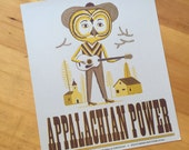 OWL Musician playing a Guitar poster with text Appalachian Power hand printed letterpress with hand set wood type sign